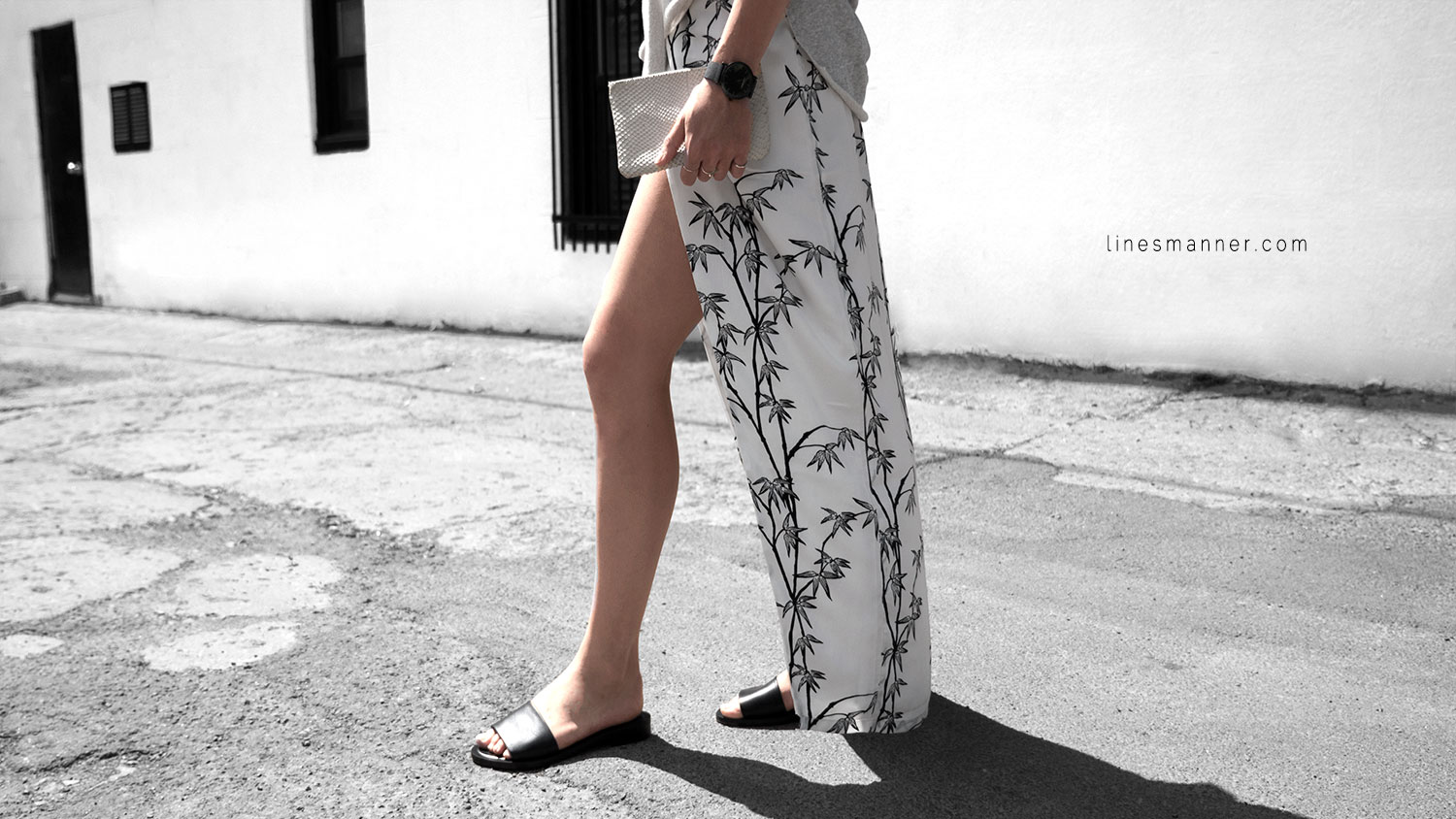 Lines-Manner-Minimal-Simplicity-Essentials-Bon_Label-Neon_Rose_Print-Bamboo-Slit_Dress-Wrap_Dress-Maxi_Dress-Fesh-Black_and_White-Casual-Elegant-Bright-Monochrome-1