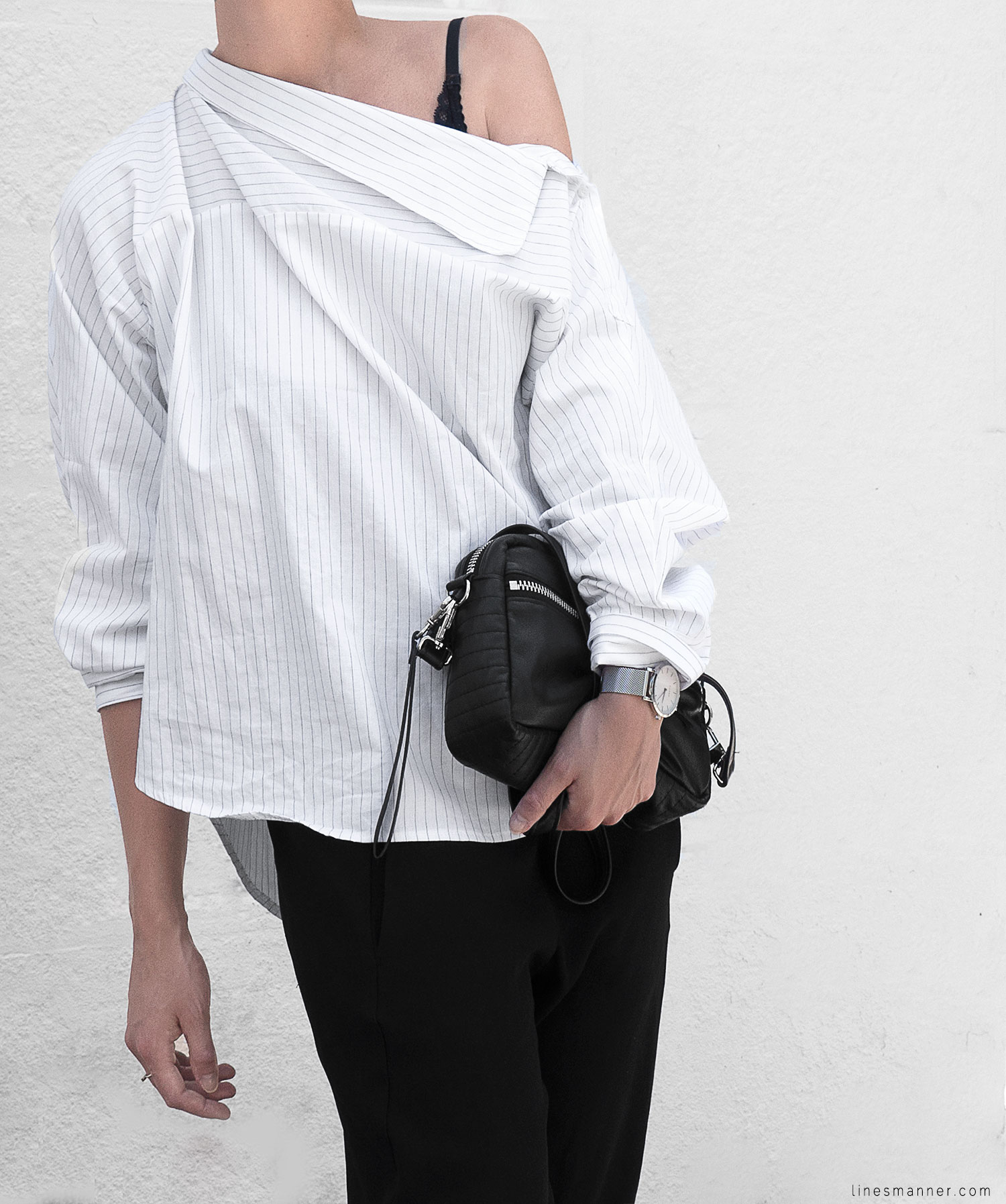 Lines-Manner-Simplicity-Off_shoulder-Monochrome-Noway_Monday-Details-Edgy6Backward-Sleek Statement_piece-Pinstripe-Business-Shirt-Minimal-Essentials-Outfit-Fashion-Minimal_fashion-Slides-Everlane-6