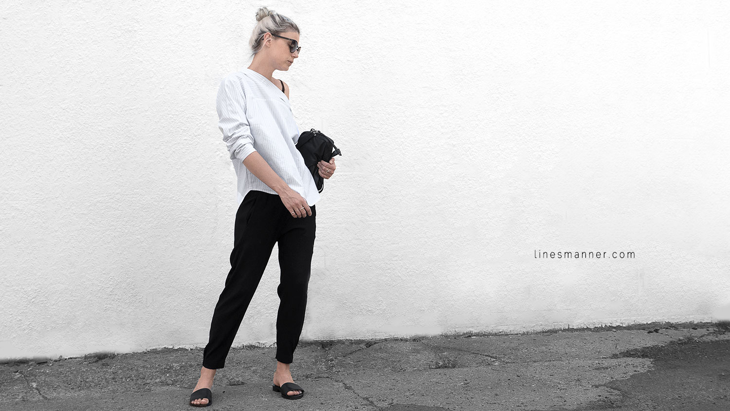 Lines-Manner-Simplicity-Off_shoulder-Monochrome-Noway_Monday-Details-Edgy6Backward-Sleek Statement_piece-Pinstripe-Business-Shirt-Minimal-Essentials-Outfit-Fashion-Minimal_fashion-Slides-Everlane-1