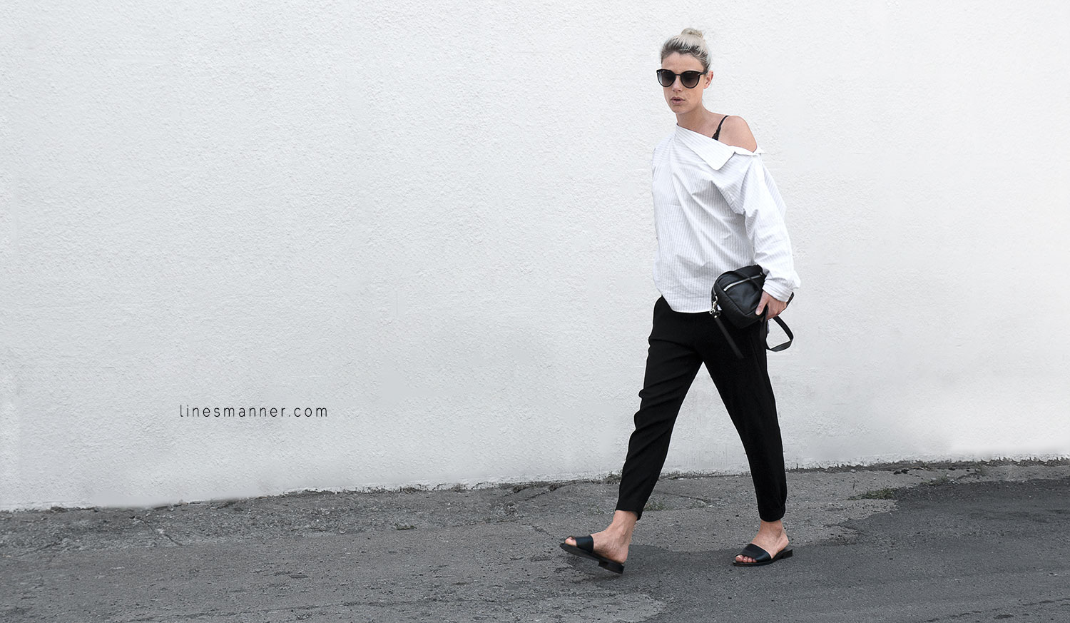 Lines-Manner-Simplicity-Off_shoulder-Monochrome-Noway_Monday-Details-Edgy6Backward-Sleek Statement_piece-Pinstripe-Business-Shirt-Minimal-Essentials-Outfit-Fashion-Minimal_fashion-Slides-Everlane-8