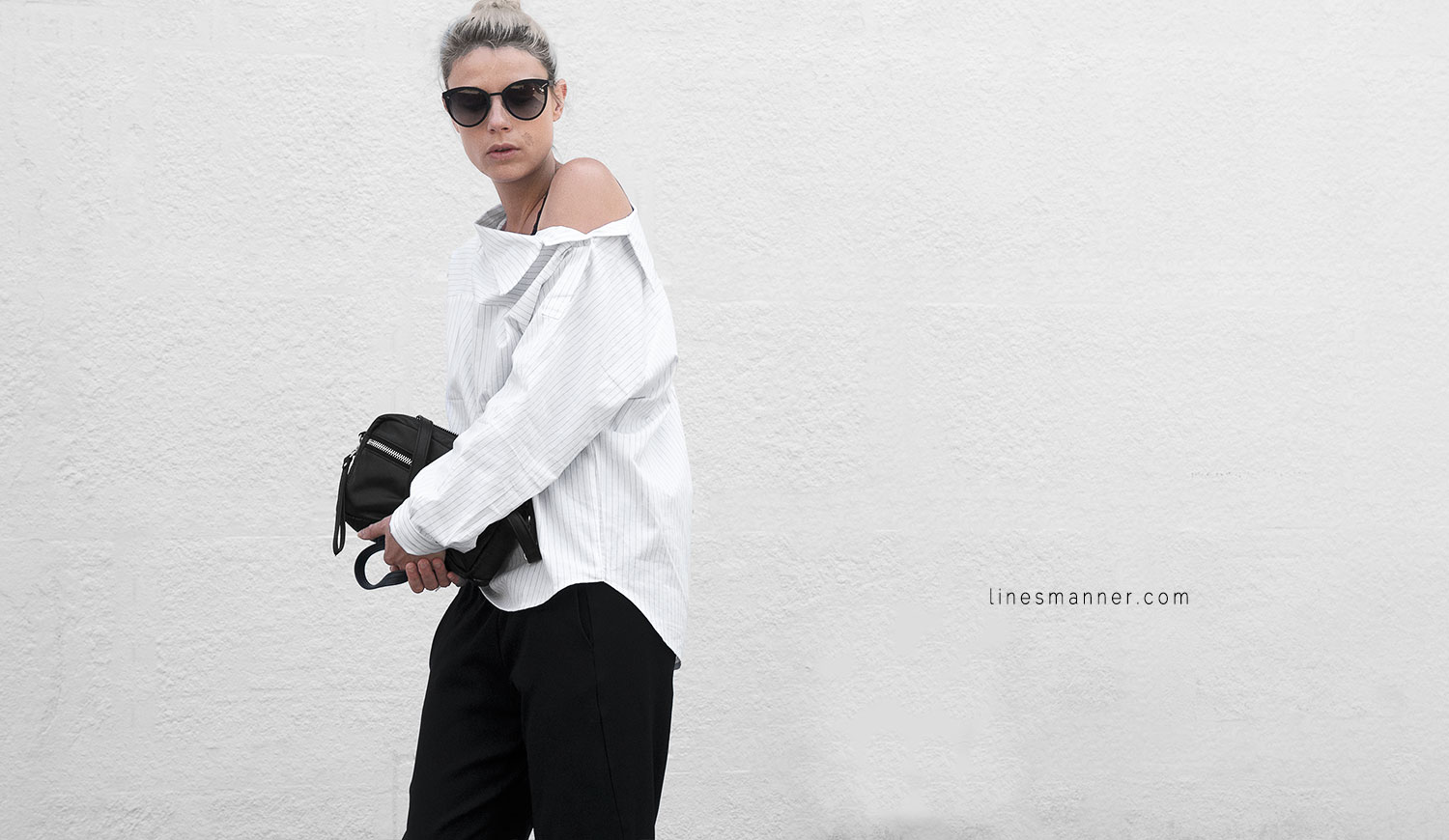 Lines-Manner-Simplicity-Off_shoulder-Monochrome-Noway_Monday-Details-Edgy6Backward-Sleek Statement_piece-Pinstripe-Business-Shirt-Minimal-Essentials-Outfit-Fashion-Minimal_fashion-Slides-Everlane-2