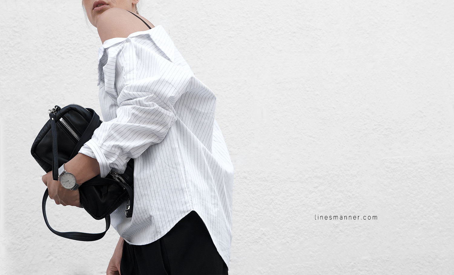 Lines-Manner-Simplicity-Off_shoulder-Monochrome-Noway_Monday-Details-Edgy6Backward-Sleek Statement_piece-Pinstripe-Business-Shirt-Minimal-Essentials-Outfit-Fashion-Minimal_fashion-Slides-Everlane-4