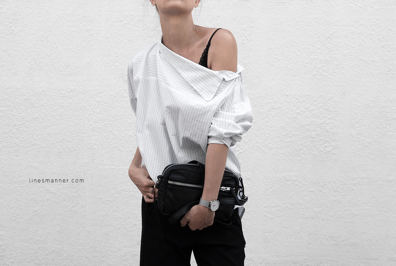 Lines-Manner-Simplicity-Off_shoulder-Monochrome-Noway_Monday-Details-Edgy6Backward-Sleek Statement_piece-Pinstripe-Business-Shirt-Minimal-Essentials-Outfit-Fashion-Minimal_fashion-Slides-Everlane-10